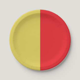 Half Yellow / Half Red Paper Plate