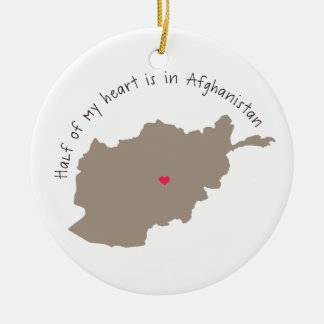 halfheartafghanistan.png Double-Sided ceramic round christmas ornament