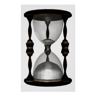 Halftone 3D Hourglass Sand Timer Poster
