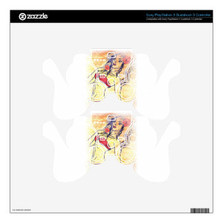 Halftone bikini girl with flower decal for PS3 controller