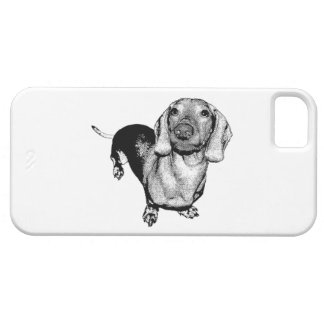 Halftone Black and White Photo Dachsund Doxie iPhone SE/5/5s Case