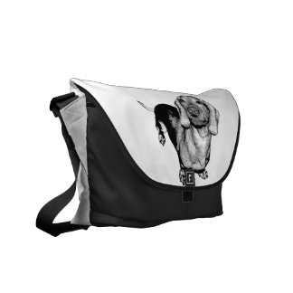 Halftone Black and White Photo Dachsund Doxie Messenger Bags