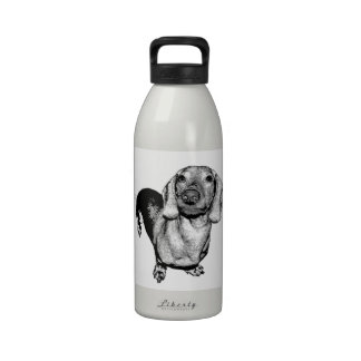 Halftone Black and White Photo Dachsund Doxie Water Bottles