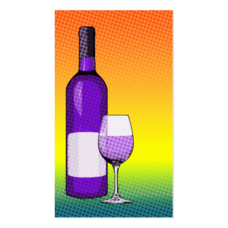 halftone comic wine glass and bottle business card
