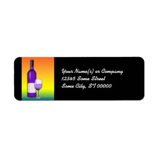 halftone comic wine glass and bottle label