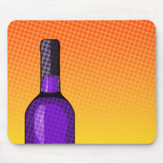 halftone comic wine glass and bottle mouse pad