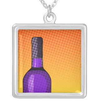 halftone comic wine glass and bottle pendant