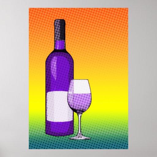halftone comic wine glass and bottle print