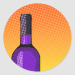 halftone comic wine glass and bottle stickers