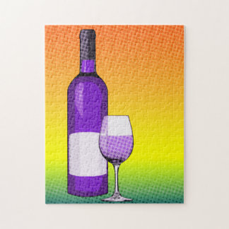 halftone comic wine glass and bottles jigsaw puzzle