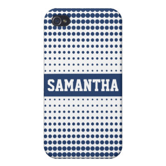 Halftone Dots Personalized (blue) iPhone 4/4S Case
