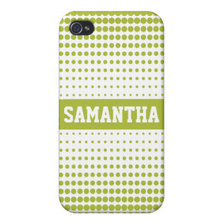 Halftone Dots Personalized (lime) Case For iPhone 4