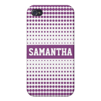 Halftone Dots Personalized (purple) Cover For iPhone 4