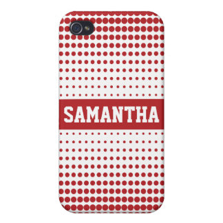 Halftone Dots Personalized (red) Cover For iPhone 4
