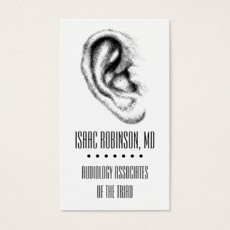 Halftone Ear Hearing Aid Business Card