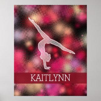 Halftone Gymnast Custom Name Poster