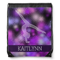 Halftone Gymnast in Purple with Monogram Drawstring Bag