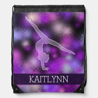 Halftone Gymnast in Purple with Monogram Drawstring Bags