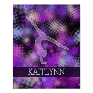 Halftone Gymnast in Purple with Monogram Poster