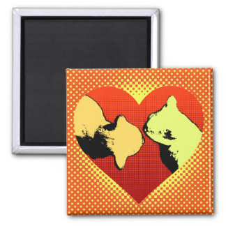 Halftone Heart with nose kissing cats 2 Inch Square Magnet