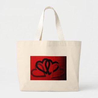 Halftone Hearts Cutout Tote Bags