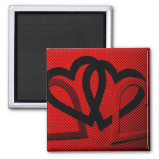 Halftone Hearts Cutout Refrigerator Magnet