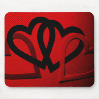 Halftone Hearts Cutout Mouse Pad