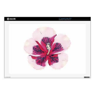Halftone hibiscus laptop decals