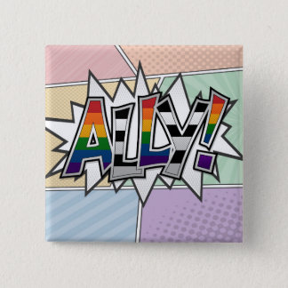 Halftone LGBT Ally Typography Pinback Button