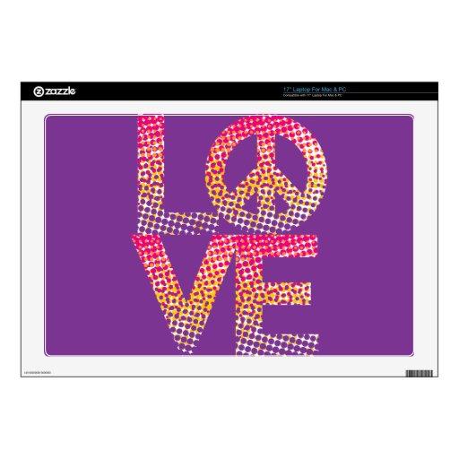 "Halftone LOVE=Peace 17"" Laptop Skin"