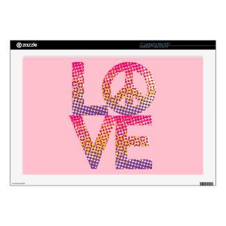 "Halftone LOVE=Peace 17"" Laptop Skins"