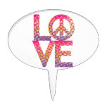 Halftone LOVE=Peace Cake Toppers