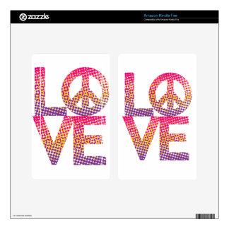 Halftone LOVE=Peace Decals For Kindle Fire