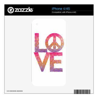 Halftone LOVE=Peace Skin For The iPhone 4
