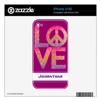 Halftone LOVE=Peace Skins For The iPhone 4
