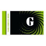 Halftone monogram black green business cards business cards