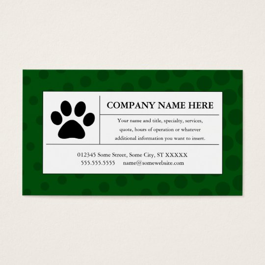 halftone pet paw business card