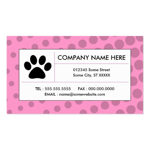 halftone pet paw business cards