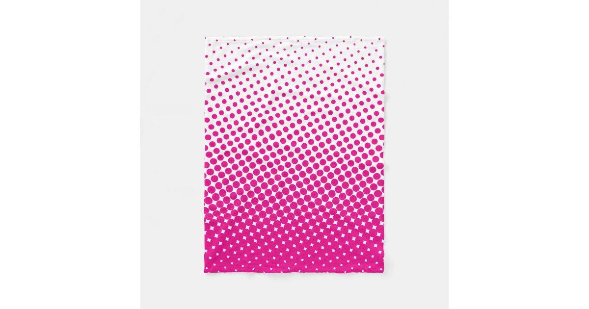 Halftone Pop Art Dot Pattern Pink And White Fleece Blanket
