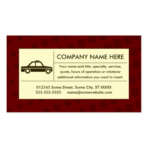 halftone taxi cab business card