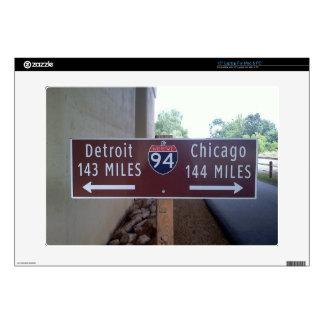 "Halfway Point, Detroit Chicago. 15"" Laptop Decal"