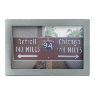 Halfway Point, Detroit Chicago. Belt Buckle