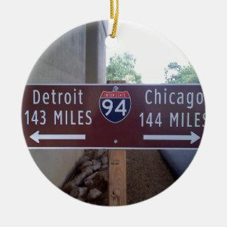 Halfway Point, Detroit Chicago. Ceramic Ornament