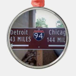 Halfway Point, Detroit Chicago. Metal Ornament