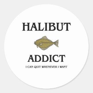 Halibut Addict Classic Round Sticker