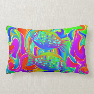 Halibut coloreado arco iris almohada