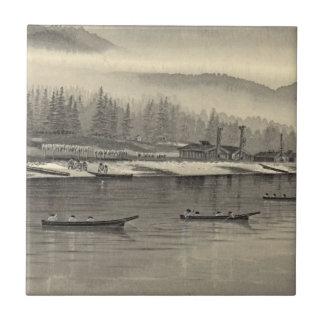 Halibut de los esquimales que pesca Alaska 1874 Teja Cerámica