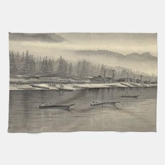 Halibut de los esquimales que pesca Alaska 1874 Toallas