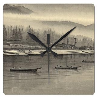 Halibut de los esquimales que pesca Alaska 1874 Relojes De Pared
