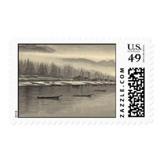 Halibut de los esquimales que pesca Alaska 1874 Sellos